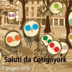 2015 Cotignyork Pieghevole con il programma in quadricromia - bianca Illustrazione di Denis Riva