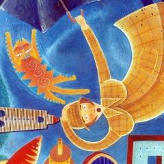 Alice e Manuela a passeggio un venerdì decisamente troppo ventoso, 1996, tecnica mista su tela, cm 100X100, collezione privata