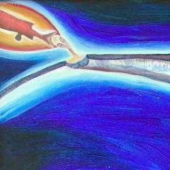 Asparagi e pesce, 2000, tecnica mista su tela, collezione privata, cm 80X80