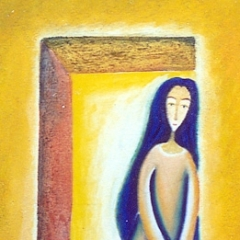 Aspetto solo un altro pò, 1997, tecnica mista su tela, cm 100X90, collezione privata