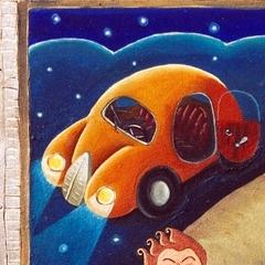 Basta! son stufo e me ne vò, 1996, acriico e sabbia su tela, cm 120X80, collezione privata