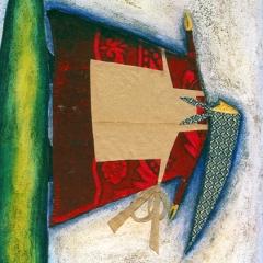 Bisogna acchiappare più vita che si può, 1998, tecnica mista su tela, cm 100X80, collezione privata