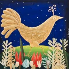 L'uccello d'oro, 2016, tecnica mista su tela, cm 40x40, collezione privata