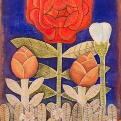 Una rosa è una rosa è una rosa, 2018, tecnica mista su tavola  proprietà dell'autrice  ph: Stefano Tedioli