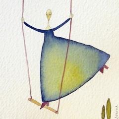 Altalena, 2004 tecnica mista su carta, collezione privata
