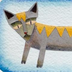 Gatto, 2006 tecnica mista su carta, collezione privata