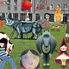 """2014 Cotignyork Pieghevole con il programma - bianca Foto della piazza: Daniele Casadio, personaggi: degli illustratori presenti alla collettiva """"Quasi Storie"""""""