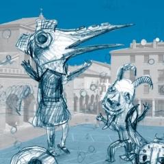 2015 Cotignyork Pieghevole con il programma in bicromia - bianca Illustrazione di Marina Girardi