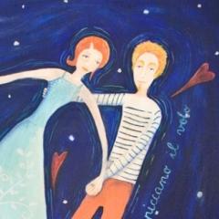 Dodo e Terhi spiccano il volo, 2016,tecnica mista su tela, cm 70x50, collezione privata