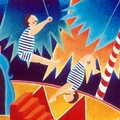 Alcuni personaggi di un circo, sotto sotto piuttosto fieri di sè, 1996 acrilico e sabbia su tela, cm 100X100, collezione privata