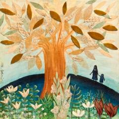 Io e te, 2016, tecnica mista su tavola, cm 30x30, collezione privata