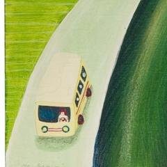 La corriera che porta a scuola i bimbi di campagna, 2008, tecnica mista su tavola, cm 30x30, collezione privata, ph: Stefano Tedioli