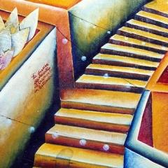 La discesa da ravello, al tramonto, in settembre, 1997, tecnica mista su tela, cm 100X90, collezione privata