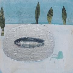Le buche con la neve, 2010, tecnica mista su tavola, cm 30x30, collezione privata, ph: Stefano Tedioli