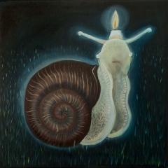 Lumachina, 2019, tecnica mista su tela, cm 60x60 collezione privata  ph: Stefano Tedioli