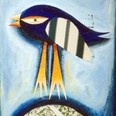 Luna + uccellino + collina di tappezzeria, 1997, tecnica mista su tela, cm 100X50, collezione privata