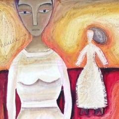 Maude (soleil è appé levé), 2000, tecnica mista su tela, cm 80X80, collezione privata