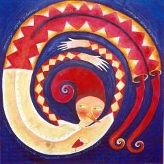 Mazapegul, 1996, acrilico e sabbia su tela, cm 90X90, collezione privata