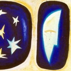 Nozioni di astronomia, 1998, tecnica mista su tela, cm 100X50, collezione privata
