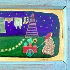 Pane e storie (direzione obbligatoria), 2004, tecnica mista su tavola, cm 38X70, collezione privata