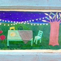 Pane e storie dopo un pò ciascuno ne ha una, 2004, tecnica mista su tavola, cm 38X70, collezione privata