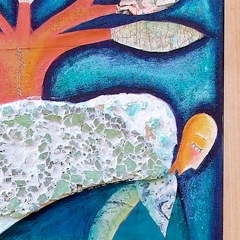 Per una sera sono stato un angelo, 1999, tecnica mista su tela, cm 100X50, collezione privata