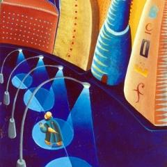 Quello che ho visto una sera dalla mia finestra, 1996, tecnica mista su tela, collezione privata, cm 120X80
