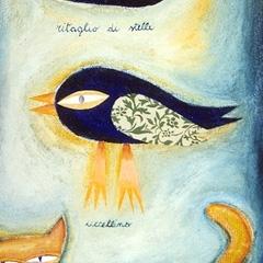 Ritaglio di stelle, uccellino, gatto, 1997, tecnica mista su tela, collezione privata, cm 100X50