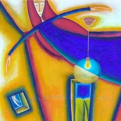 Un pò di jungla anche per me, 1997, acrilico e sabbia su tela, collezione privata, cm 100X100