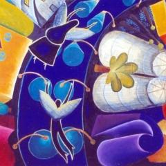 Un volo in centro, io Wendy tu Peter, 1996, tecnica mista su tela, cm 150X150, proprietà dell'autrice