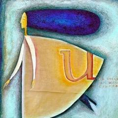 Una volta, son sicura, è capitato, 1998, tecnica mista su tela, collezione privata, cm 80X50