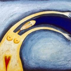 Un'estate di vento (contrario), 1997, acrilico e sabbia su tela, collezione privata, cm 60X80