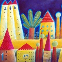 Viale dei ciliegi (arriva mary poppins?), 1997, acrilico e sabbia su tela, cm 50X100, collezione privata