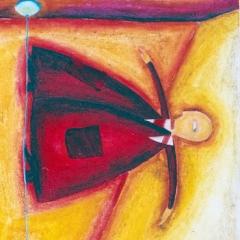 Vie di fuga2, 1997, tecnica mista su tela, collezione privata, cm 100X100